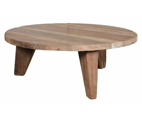 HK-living Table basse en teck, marron, Ø80x30cm