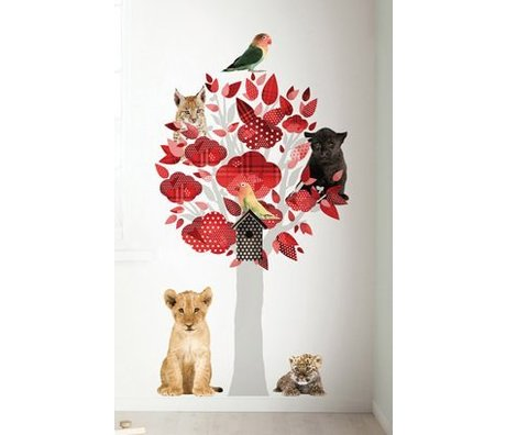 Kek Amsterdam Vægoverføringsbillede Safari træ, rød, 88x145cm