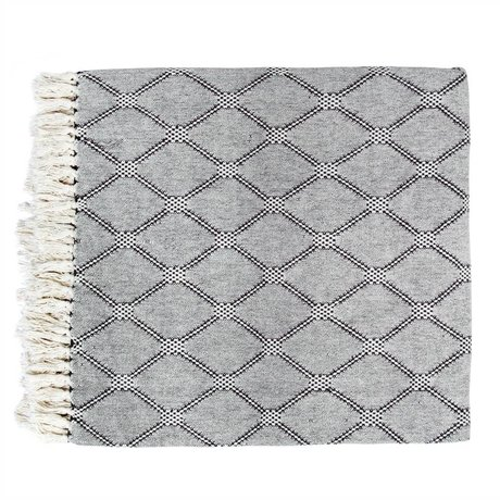 HK-living Plaid gewebt Rauten schwarz weiß Baumwolle 240x260cm