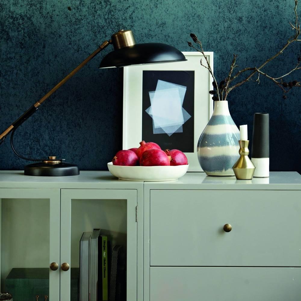 Housedoctor Lampe de table Art déco en laiton noir Ø28,5x50cm métallique