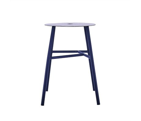 Housedoctor Stool K Stool black leather steel 48x35x35cm