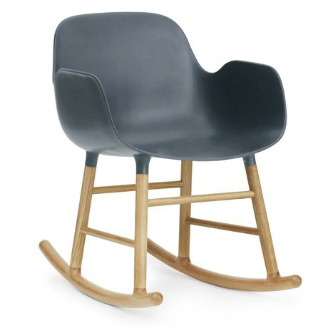 Normann Copenhagen Chaise à bascule avec accoudoirs forme plastique bleu 73x56x65cm en bois de chêne