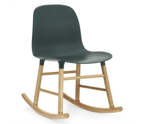 Normann Copenhagen Rocker shape green plastic oak wood 73x48x65cm