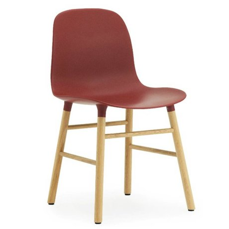 Normann Copenhagen Stuhl Form in rot Eichenholz und Kunststoff 78x48x52cm