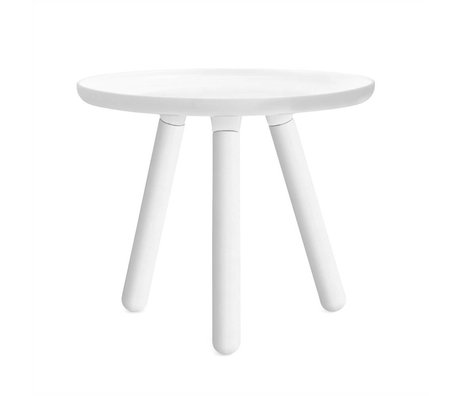 Normann Copenhagen Table Tablo white plastic with white ash wood legs Ø50cm