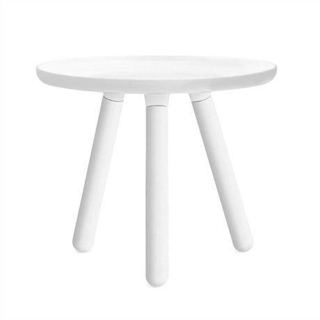 Normann Copenhagen Tisch Tablo in weiß Kunststoff mit weißen Eschenholz Beinen  Ø50cm
