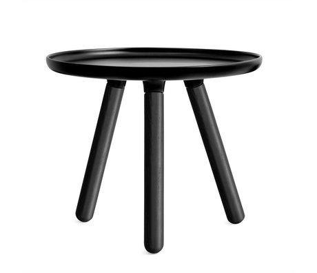 Normann Copenhagen Table Tablo plastique noir avec pieds en bois de frêne noir Ø50cm