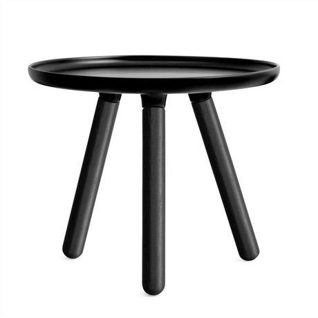 Normann Copenhagen Tablo table black plastic with black ash wood legs Ø50cm
