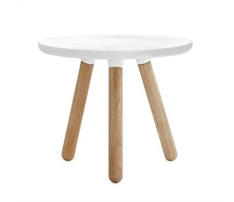 Normann Copenhagen Tablo table white plastic ash wood Ø50cm
