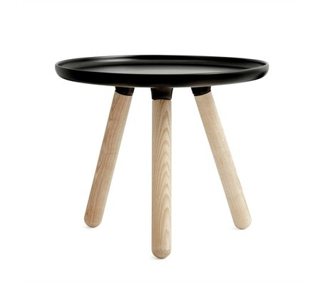 Normann Copenhagen Table Tablo black plastic ash wood Ø50cm