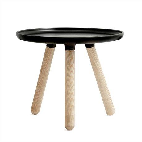 Normann Copenhagen Tisch Tablo schwarz aus Kunststoff und Eschenholz Ø50cm