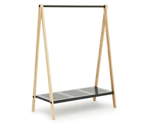 Normann Copenhagen Kleidungständer Toi in grau Stahl Eschenholz 160x120x59,5cm