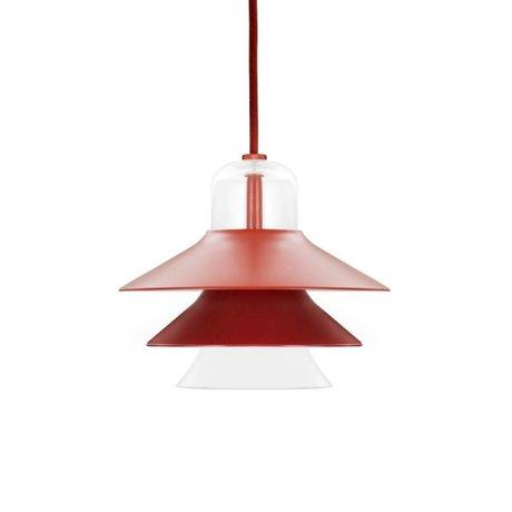 Normann Copenhagen Deckenlampe Ikono rot aus beschichtetem Stahl und Glas Ø20cm