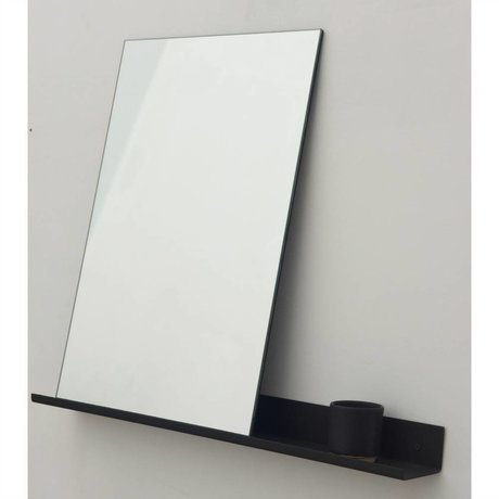 Frama Shop Espejo Estante de aluminio negro 70x90cm