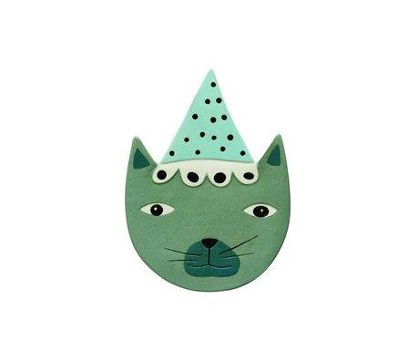 OYOY Accesorios para Wall Buster gato 20x27c cerámica verde azul