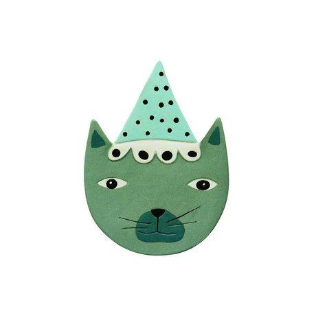OYOY Accessoires pour Wall Buster Cat bleu 20x27c céramique verte