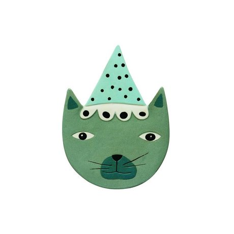 OYOY Accessories for Wall Buster Cat blue green ceramic 20x27c