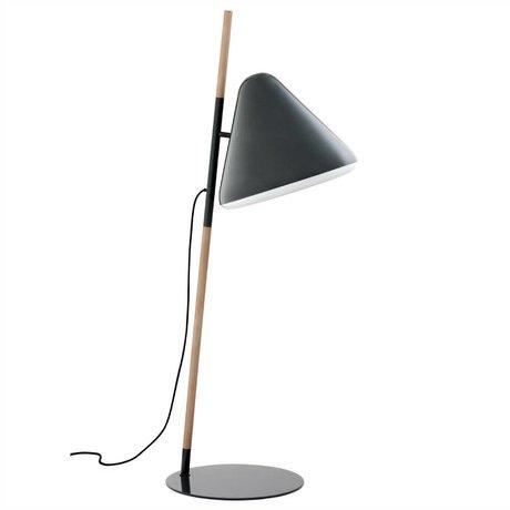 Normann Copenhagen Floor lamp Hello gray metal timber Ø49x165cm