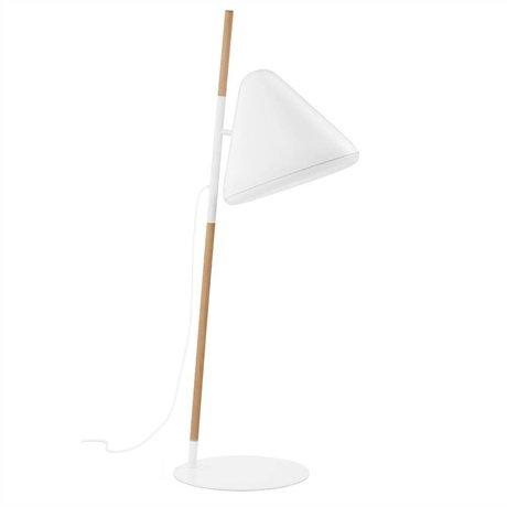 Normann Copenhagen Stehlampe Hello in weiß, Kombi aus Metall und Holz Ø49x165cm
