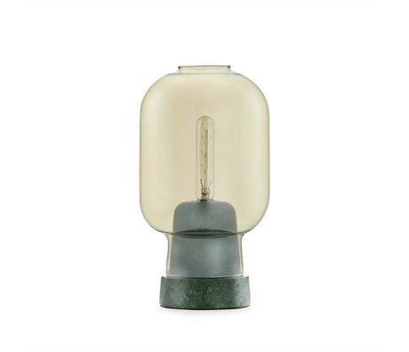 Normann Copenhagen Nachttischlampe Amp aus goldem Glas und grünem Marmor Ø14x26,5cm