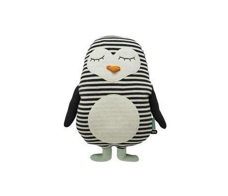 OYOY Pingüino blanco 31x41cm algodón negro