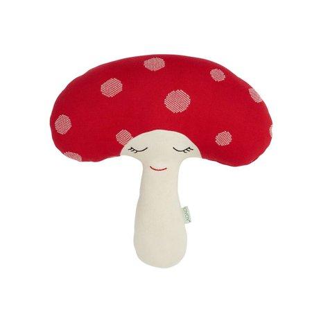 OYOY Mushroom peluche rouge coton blanc 52x14x46cm