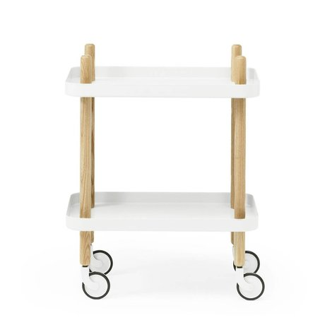 Normann Copenhagen Side Block white steel timber 35x64x50cm