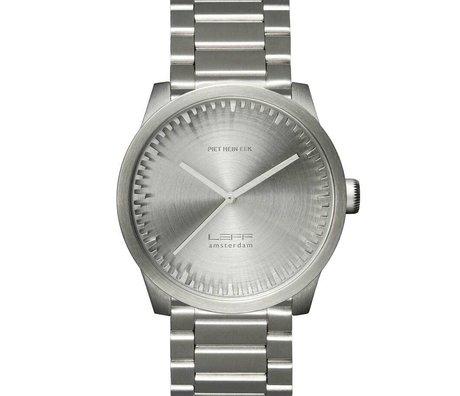 LEFF amsterdam PM Tubo reloj S42 cepillado plata sólida de acero inoxidable con banda de acero Stähler Ø42x11,4mm impermeable