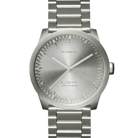 LEFF amsterdam PM Tube Watch S42 brushed stainless steel silver with solid stainless Stahler band waterproof Ø42x11,4mm