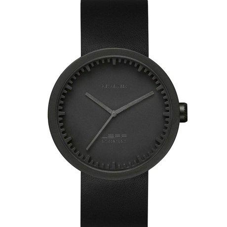 LEFF amsterdam PM Tube montre D42 brossé noir mat en acier inoxydable avec bracelet en cuir noir Ø42x10,6mm imperméable à l'eau