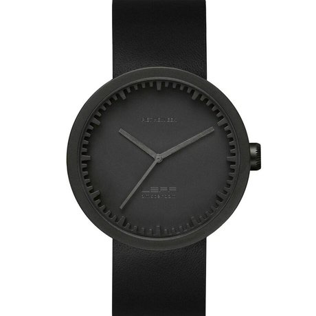 LEFF amsterdam PM Tube Watch D42 brushed stainless steel matte black with black leather strap waterproof Ø42x10,6mm