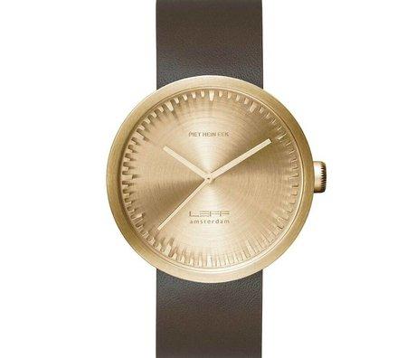 LEFF amsterdam PM Tube Watch D42 børstet rustfrit stål messing guld med brun læderrem vandtæt Ø42x10,6mm
