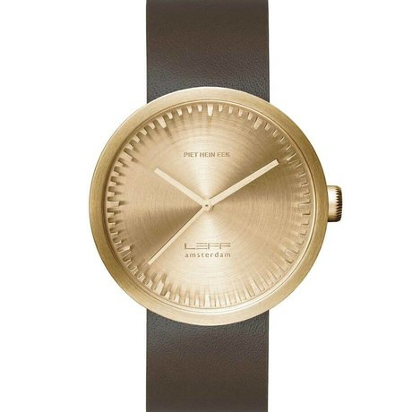 LEFF amsterdam Armbanduhr Tube Watch D42 aus gebürstem, rostfreiem Stahl, Messing-Gold mit braunem Lederarmband, wasserdicht Ø42x10,6mm