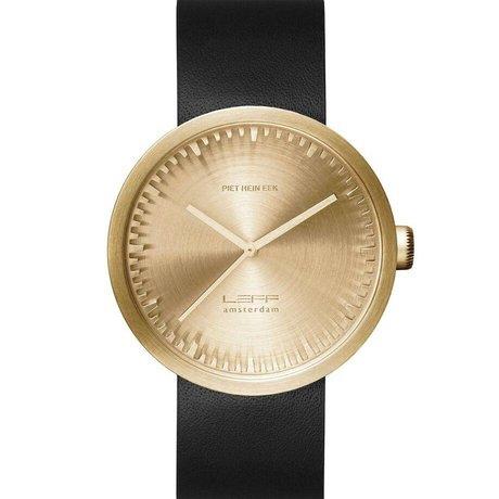 LEFF amsterdam PM tubo D42 reloj de oro de latón pulido de acero inoxidable con correa de cuero negro resistente al agua Ø42x10,6mm