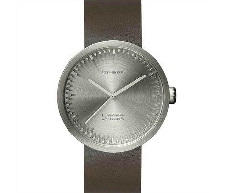 LEFF amsterdam PM tubo D42 reloj de acero inoxidable cepillado con correa de cuero marrón Ø42x10,6mm impermeable