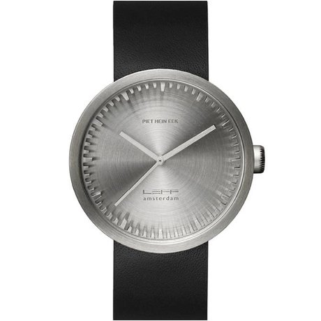 LEFF amsterdam PM Tube Watch D42 brushed stainless steel with black leather strap waterproof Ø42x10,6mm