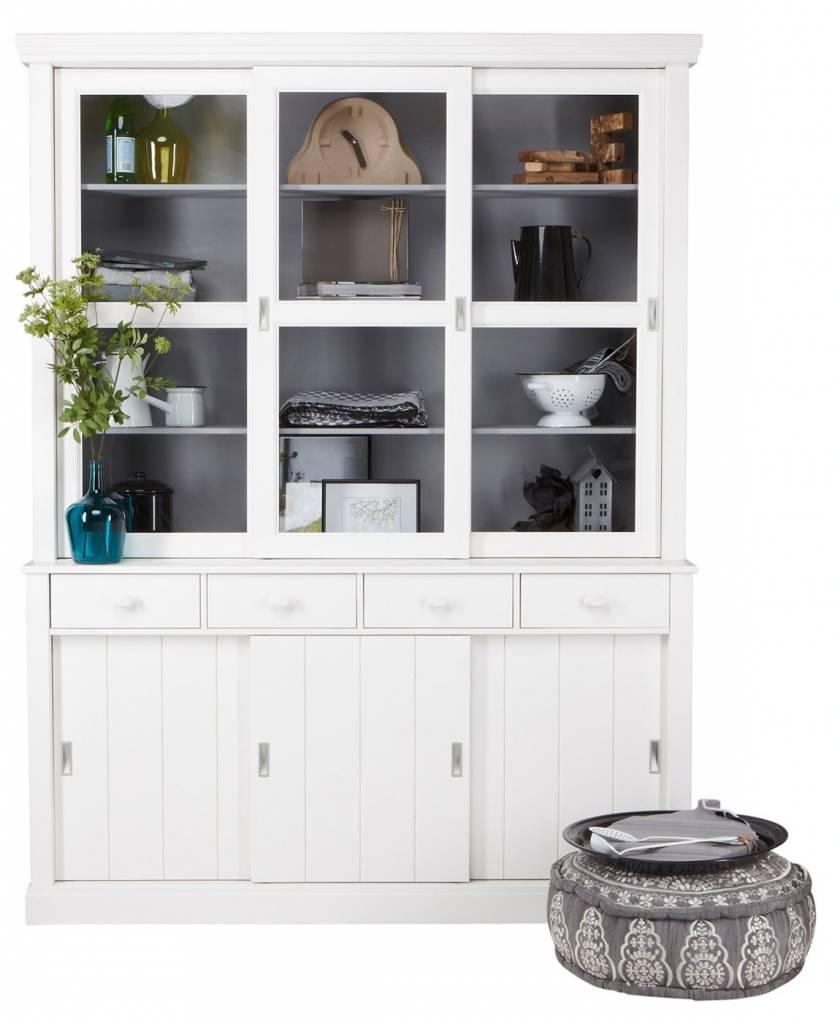 LAGOS mueble buffet de madera de pino, blanco, 215x166x48 cm