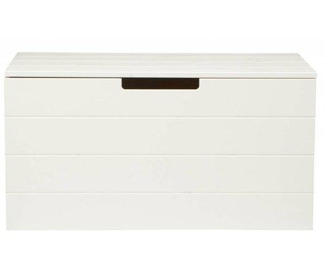 LEF collections Caja de almacenamiento de madera de pino, blanco, 42X80X42cm