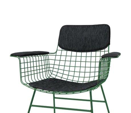 HK-living Kissen-Set für Stuhl mit Armlehnen Comfort Kit schwarz