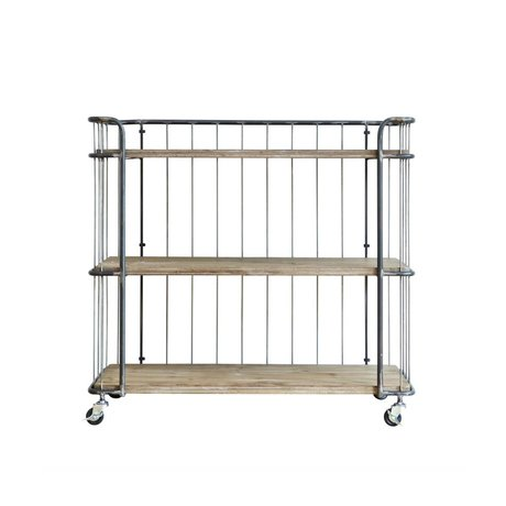 BePureHome Trolley Giro grigio medio metallo marrone 94x41x89cm legname