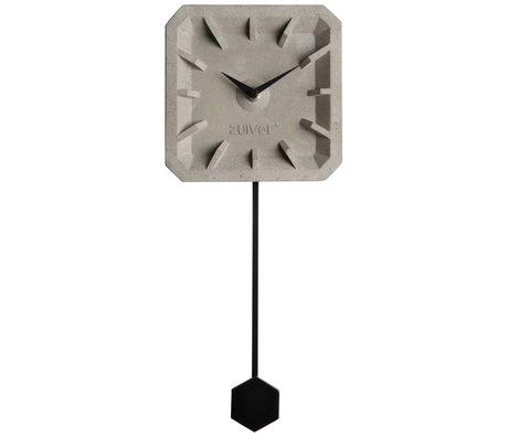 Zuiver Clock Tiktak Zeit grau Beton schwarz Aluminium 15,5x37,5x4cm