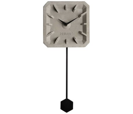 Zuiver Uhr Tiktak Time, grau schwarz, Beton Aluminium, 15,5 x 37,5 x 4 cm