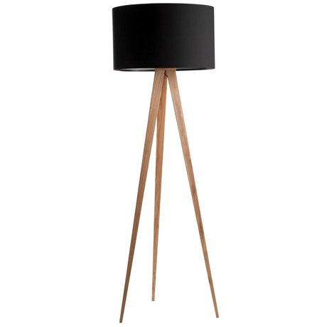 Zuiver Bodenlampe Tripod, Naturholz, schwarz, 151 x 50 cm