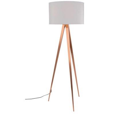 Zuiver Bodenlampe Tripod, weiß, Textil, Metall, Kupfer 154,5 x 50 cm