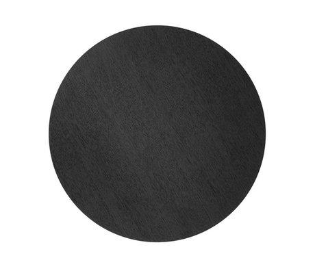 Ferm Living Sheet metal basket Ø40cm black oak veneer