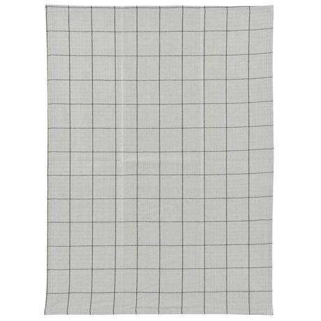 Housedoctor Vérifiez torchon gris coton noir 50x70cm