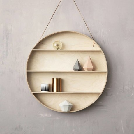 Ferm Living Wall cabinet made of plywood with leather loop, nature, Ø55cm