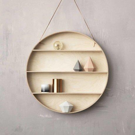 Ferm Living Wandschrank aus Sperrholz mit Lederschleife, natur, Ø55cm