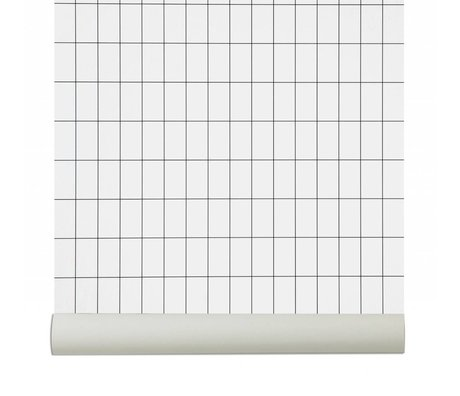 Ferm Living Wallpaper `Grid`, negro / blanco, 10.05mx0.53m