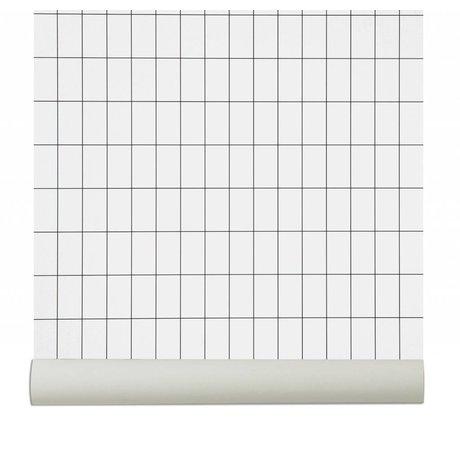Ferm Living Fond d'écran `Grid`, noir / blanc, 10.05mx0.53m